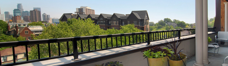 Investing - Patio overlooking downtown Minneapolis